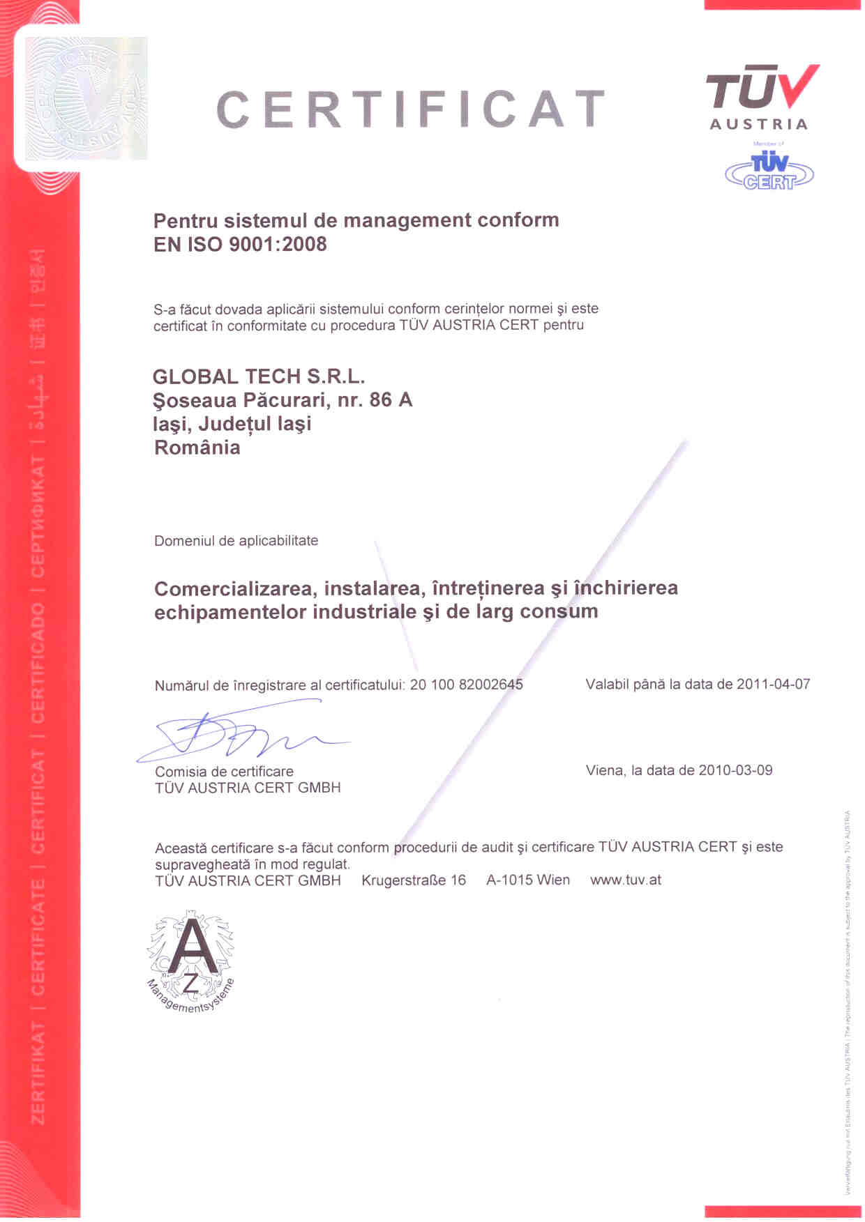 Certificare ISO 9001 Global Tech